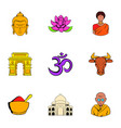 indian travel icons set cartoon style vector image