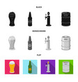 isolated object of pub and bar icon collection of vector image vector image