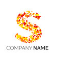 letter s logo with orange yellow red particles vector image
