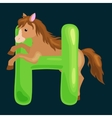 letter with horse animal for kids abc education in vector image