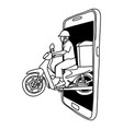 man riding motorcycle out big screen of vector image