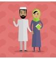 Muslim People Arabian Family Arabic Husband Wife vector image