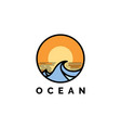 ocean wave with sunset logo design ve vector image