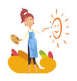pregnant women painter paint the sun for baby vector image vector image
