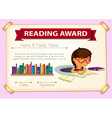 Reading award template with girl reading vector image vector image