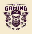 retro gaming club with bearded gamer skull vector image vector image
