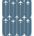 seamless pattern with passenger airplanes and line vector image