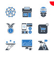 seo and web opimization icons set vector image