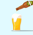 serving a beer on a blue background vector image vector image