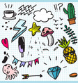set colorful cute doodle on paper background vector image
