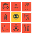 set of 9 food icons includes tea no drinking vector image vector image
