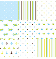 Set of baby boy seamless patterns vector image vector image