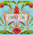 slogan summer time leaves and flowers blue vector image vector image