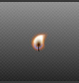 small realistic burning candle wick part isolated vector image vector image