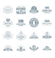 smart home logo icons set simple style vector image vector image