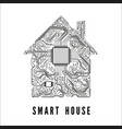 smart house concept circuit home and cpu vector image vector image