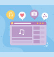 social network musical player on screen vector image vector image
