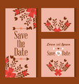 three cards save the date decorated with flowers vector image vector image