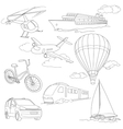 Travel set with car air-balloons ships bike vector image vector image