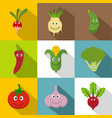 vegetables for kid icons set flat style vector image