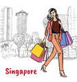 woman with shopping bags on orchard road vector image vector image