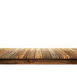 wooden table top with aged surface realistic vector image vector image