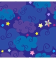 cartoon clouds and stars nighttime seamless vector image