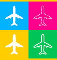 airplane sign four styles of icon on vector image