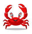 Funny red crab cartoon for food flavor concept vector image