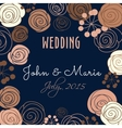 Wedding invitation template with floral elements vector image