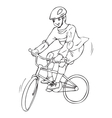 A boy riding a bicycle for coloring page vector image vector image