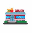 american fast food restaurant diner building flat vector image vector image