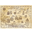 ancient pirate map of the caribbean sea vector image vector image