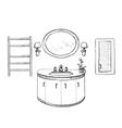 Bathroom interior sketch Hand drawn washbasin vector image