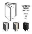 black standing book icon in cartoon style isolated vector image vector image