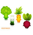 broccoli leek carrot beet cartoon characters vector image vector image