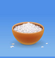 brown bowl with white long rice vector image