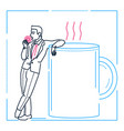 businessman on a coffee break - line design style vector image