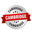 cambridge round silver badge with red ribbon vector image vector image