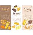 cartoon color bakery banner card vecrtical set vector image vector image