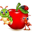 cartoon small animals with red apple vector image vector image