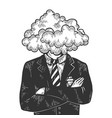 cloud head businessman sketch engraving vector image vector image