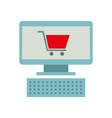 computer and shopping cart online virtual market vector image vector image