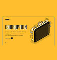 corruption isometric landing page template vector image vector image