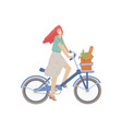 cute girl ride a city bike with product basket vector image vector image