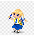 cute little blonde schoolgirl with braids and big vector image vector image