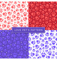 dog paw cat paw heart love puppy seamless pattern vector image vector image