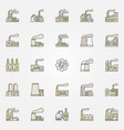 factory and plant colorful icons vector image