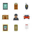 finance security icon set flat style vector image