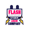 flash electrical storm company logo template vector image